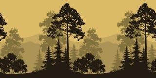 无缝的风景、树和山剪影 免版税库存照片