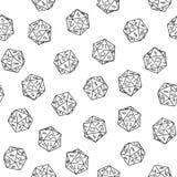 无缝的风格化手拉的在白色背景的剪影单色二十面体样式纹理元素 库存图片