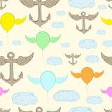 无缝的飞过的船锚和气球 免版税库存照片