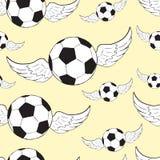 无缝的飞过的足球 库存图片