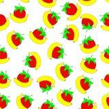 无缝的香蕉和草莓 库存图片