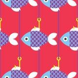无缝的鱼和结尾杆样式 库存例证