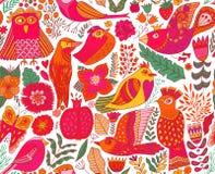 无缝的鸟背景 纺织品构成,手拉的样式样式 r 库存例证