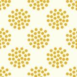 无缝的黄色圈子加点背景 免版税库存图片