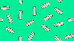 无缝的黄色在包装的板材的回合医疗医药配药药片片剂样式不尽的纹理在绿松石 皇族释放例证