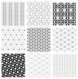 无缝的黑白日本减速火箭的六角形样式传染媒介集合 免版税库存图片