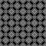 无缝的黑白vectore几何艺术、圈子和星塑造反复性的样式 皇族释放例证