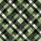 无缝的黑,绿色,白色格子花 免版税图库摄影