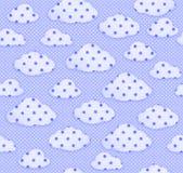 无缝的织品样式蓝天和白色云彩 库存照片