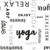 无缝的类型样式瑜伽黑色 免版税图库摄影