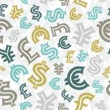 货币符。 无缝的样式背景。 库存图片