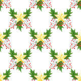 无缝的水彩圣诞节样式用霍莉莓果,叶子,金黄星 对包装纸,卡片或纺织品设计 库存照片