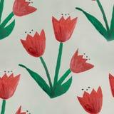 无缝的水彩幼稚花绿色红色手工制造 免版税库存照片