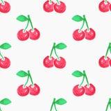 无缝的水彩样式用樱桃, 库存图片