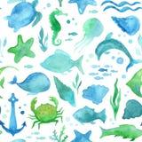 无缝的水彩海洋生活样式 向量例证