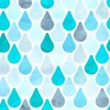 无缝的水彩雨样式 向量 免版税图库摄影