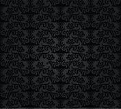 无缝的黑木炭花卉墙纸样式 库存图片