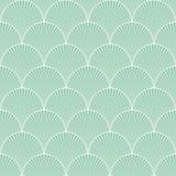 无缝的绿松石日本艺术装饰花卉波动图式传染媒介 免版税库存图片