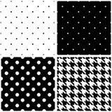 无缝的黑白传染媒介样式或瓦片背景集合 免版税库存图片