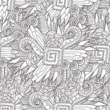 无缝的黑白几何样式 sdults彩图的着色页 免版税库存图片