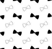 无缝的黑白蝶形领结样式 库存图片