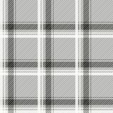 无缝的轻的格子呢样式织品 在灰色背景的黑白细胞 免版税库存照片