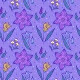 无缝的紫罗兰色镶边花 免版税库存图片
