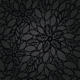 无缝的黑色叶子和花系带墙纸样式 免版税库存照片