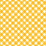无缝的黄色和白色对角方格花布样式或者织品布料 免版税库存照片