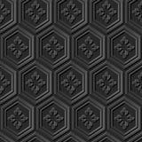 无缝的3D典雅的黑暗的纸艺术样式368多角形花 免版税库存图片