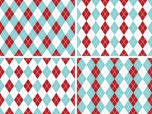 无缝的Argyle仿造水色蓝色,红色与固定的银色线路 免版税图库摄影