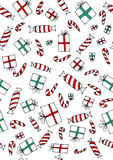 无缝的christmass礼物和甜点 免版税库存照片