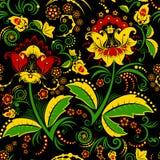 无缝的hohloma花卉样式 库存图片