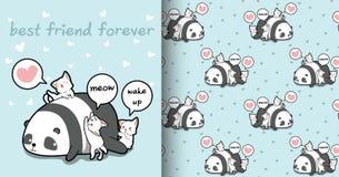 无缝的kawaii熊猫和猫字符样式 向量例证