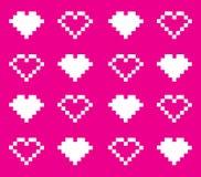 无缝的pixelhearts 免版税库存图片