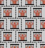 无缝监狱的样式 囚犯在监狱背景中 Perpetrato 向量例证