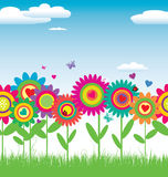 无缝看板卡花卉的例证 免版税图库摄影