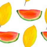 无缝秋天的模式 重复的纹理 西瓜切片和黄色叶子在白色背景 库存例证