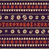 无缝种族的模式 葡萄酒镶边的印刷品 免版税库存图片