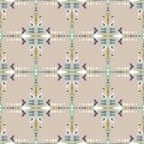 无缝种族的模式 阿兹台克几何背景 手拉的那瓦伙族人织品 现代抽象墙纸 免版税图库摄影