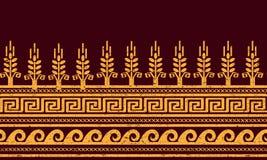 无缝种族的模式 麦子、河曲和水标志 免版税库存照片