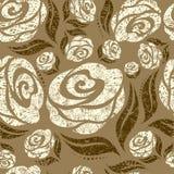 无缝米黄grunge模式的玫瑰 免版税图库摄影