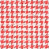 无缝红色和白色方格花布桌布的纹理 库存图片