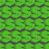 无缝美元的模式 绿色美元背景 向量例证