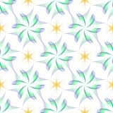 无缝翼喜欢花并且染黄六个角度星 免版税库存照片