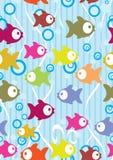 无缝背景动画片颜色逗人喜爱的鱼 免版税库存图片