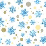 无缝背景的圣诞节 蓝色雪花和多彩多姿的圈子eps10 皇族释放例证