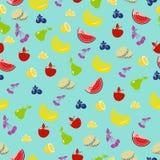 无缝背景的果子 传染媒介背景用菠萝,苹果,樱桃 图库摄影