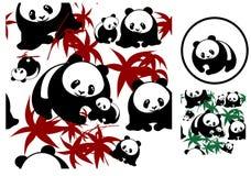 无缝背景的熊猫 免版税库存图片