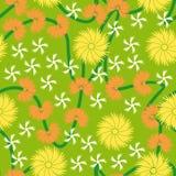 无缝背景颜色花卉的模式 库存例证